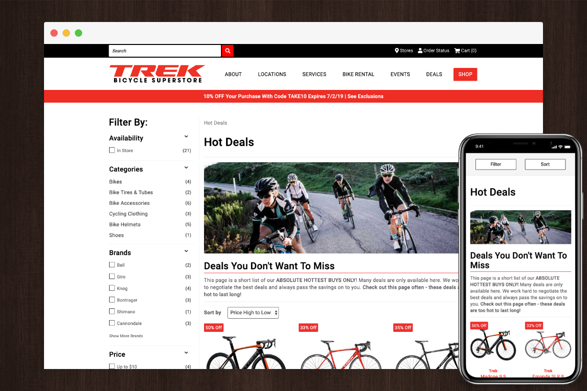Closeouts Example - Trek Bicycle Superstore