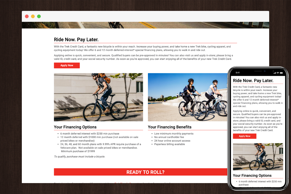 Financing Example - Trek Bicycle Superstore