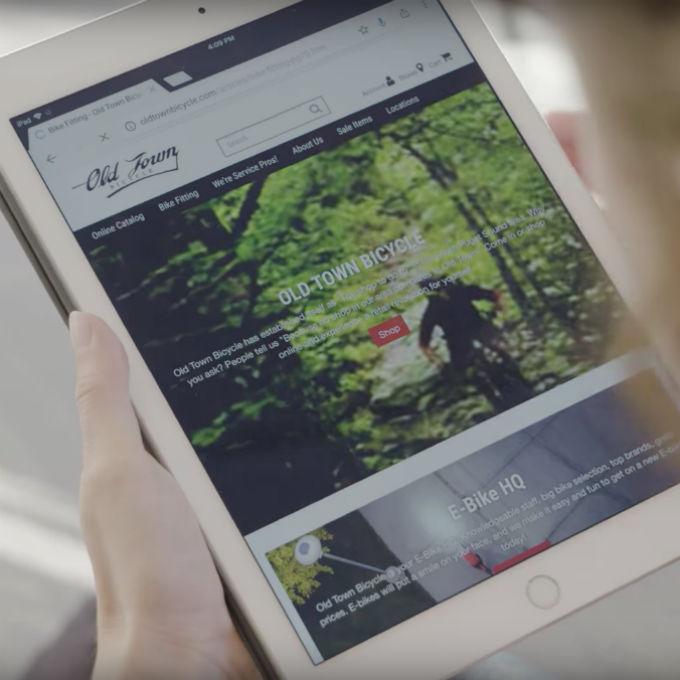 SmartEtailing Bike Shop Website on Tablet